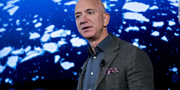Jeff Bezos, founder and chief executive officer of Amazon.com Inc., speaks during a news conference at the National Press Club in Washington, D.C., U.S., on Thursday, Sept. 19, 2019. Bezos spoke about Amazons sustainability efforts a day before workers around the world, including more than 1,000 of his own employees, are scheduled to walk out to spotlight climate change. Photographer: Andrew Harrer/Bloomberg via Getty Images