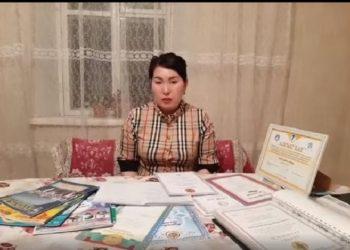 М.Байболатованың кешірім сұраған видеосынан screen shot.